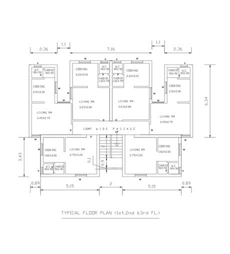Typical Floor Plan (1st, 2nd, 3rd)